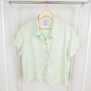 Vintage Pale Green Linen Boxy Button Up Blouse